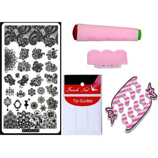 Royalkart Nail Art Kit With 1 Stamping Image Plate(XY-COCO13) Stamper Scraper Finger Tip Guide and Finger Rest