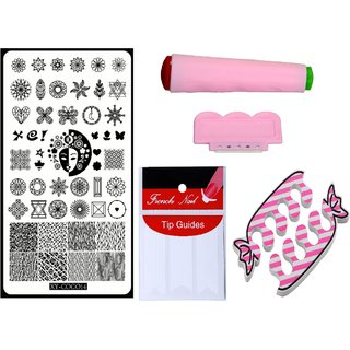 Royalkart Nail Art Kit With 1 Stamping Image Plate(XY-COCO14) Stamper Scraper Finger Tip Guide and Finger Rest