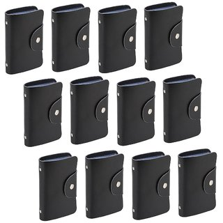 Divyazon Beautiful India Mens Black PVC Leather Card Holder Pack of 12 (10 Card Slots)