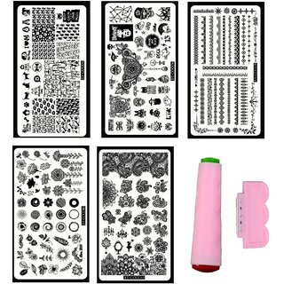 Royalkart Nail Art Stamping Kit Wit 5 Image Plates (XY-COCO4 6 9 10 13 Plates) and Double-sided Stamper Scraper