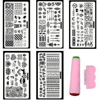 Royalkart Nail Art Stamping Kit With 5 Image Plates (XY-COCO1 2 3 7 12 Plates) With Double-sided Stamper Scraper