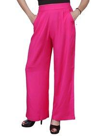 Lili Plain Comfortable Stylish Casual Regular Fit Rayon Palazzo Pants
