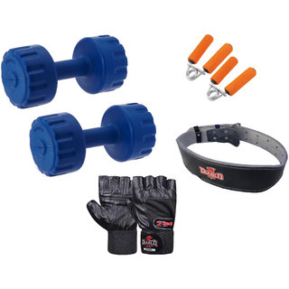 DIABLO Home Gym Combo Of 4 KG Pair Of Dumbbells With Leather Belt, Gloves  Gripper