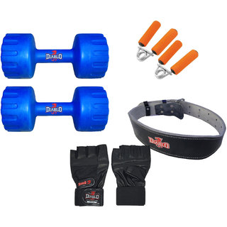 DIABLO Home Gym Combo Of 5 KG Pair Of Dumbbells With Leather Belt, Gloves  Gripper