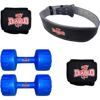 DIABLO Home Gym Combo Of 1 KG Pair Of Dumbbells With Leather Belt  Hand Wraps