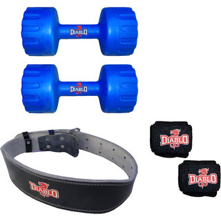 DIABLO Home Gym Combo Of 2 KG Pair Of Dumbbells With Leather Belt  Hand Wraps