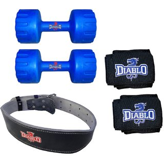 DIABLO Home Gym Combo Of 3 KG Pair Of Dumbbells With Leather Belt  Hand Wraps