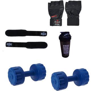 DIABLO Home Gym Combo Of 3 KG Pair Of Dumbbells With Gym Bag,Gloves,Straps  Bottle