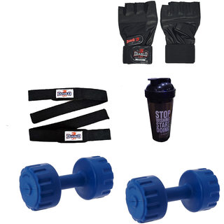DIABLO Home Gym Combo Of 5 KG Pair Of Dumbbells With Gym Bag,Gloves,Straps  Bottle