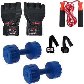 DIABLO Home Gym Combo Of 2 KG Pair Of Dumbbells With Gym Gloves,Wrist Support  Accessories