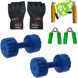 DIABLO Home Gym Combo Of 5 KG Pair Of Dumbbells With Gym Gloves,Rope  Gripper