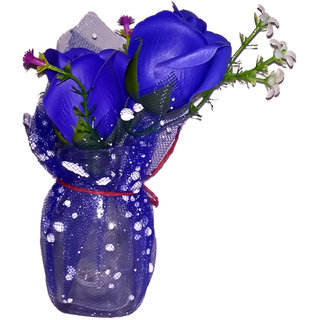 Valentine Special Blue Rose Artificial Flower with Pot / Flower Vase Best Valentines Gift for Christmas Home Decor