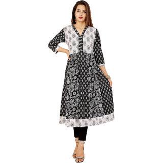 Purvahi black and white color cotton printed Anarkali
