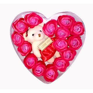 Kartik Valentine Gift for Wife Teddy Bear with Valentines Special and Red Rose