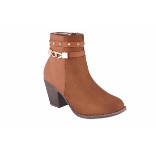 MSC Womens Tan Slip on Synthetic Ankle Length Boots
