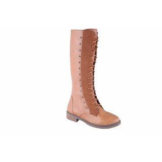 MSC Womens Beige Slip on Synthetic Knee Length Boots