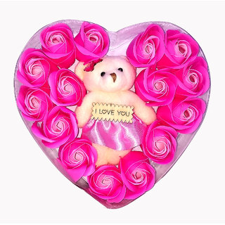 Kartik Valentine Gift for Wife Teddy Bear with Valentines Special and Pink Rose
