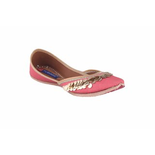 MSC Women's Pink Slip on Leather Ethnic Flats