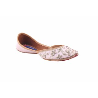 MSC Women's Peach Slip on Leather Ethnic Flats