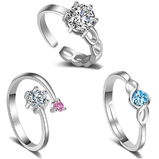 a92f48354 Om Jewells CZ Jewellery Combo of 3 Adjustable Solitaire Design inspired Finger  Ring Crafted for Girls and Women CO1000192