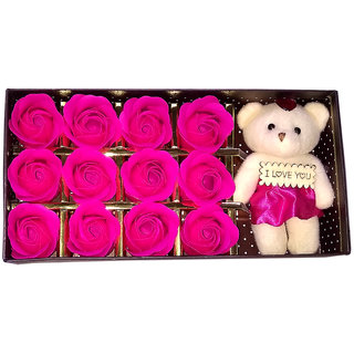 Kartik 12 Scented Rose Flower Bath Soap Gift Box with Doll for Birthday/Wedding / Valentines Day (Pink)