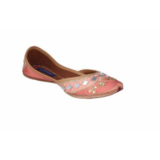 MSC Women's Peach Slip on Leather Ethnic Flats