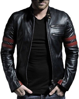 Black Plain Wolverine Faux  Leather Casual Biker Jacket For Men by Leather Retail