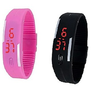 Farp Led Watch Digital Pink And Black Colour Combos