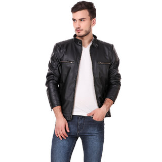 Leather retail Black Designer Jacket For Man
