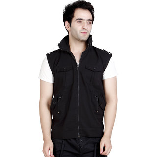 CONWAY Black Zipper Sleeveless Jacket For Men's