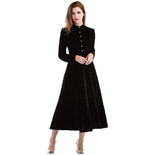 Code Yellow Women's Black Buttoned Velvet Winter Dress