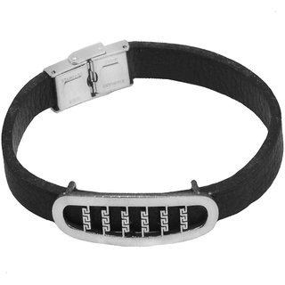 Sullery Biker And Sport Wristband  Leather Stainless Steel Wristband Adjustable Bracelet  Silver & Black  Leather & Stainless Steel  Bracelet For Men And Women