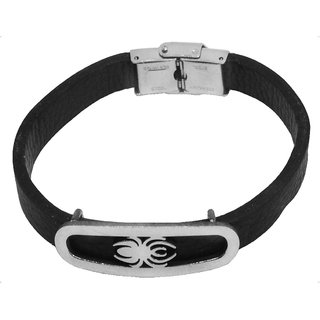 Sullery Biker And Sport Wristband Insect Leather Stainless Steel Wristband Adjustable Bracelet  Silver & Black  Leather & Stainless Steel  Bracelet For Men And Women