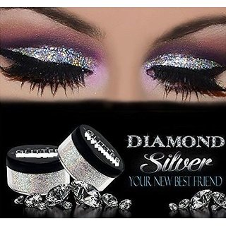 SUPER BRIGHT DIAMOND SILVER GLITTER, SHIMMER DUST FOR BEAUTY QUEEN PACK OF 12