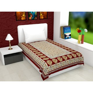 Chokor 141 T C  Floral Single Bed sheet without pillow cover (Red)
