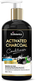 StBotanica Activated Charcoal Hair Conditioner, 300ml - Deeply Purifies and Removes Impurities, Refreshing Menthol with Organic Olive Oil, Shea Butter, Oats  Wheat Protein.