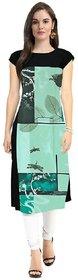 Manvi fashion Digital Printed American Crepe Green Kurti For Women
