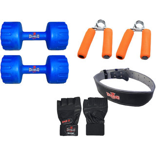 DIABLO Home Gym Combo Of 1 KG Pair Of Dumbbells With Leather Belt, Gloves  Gripper