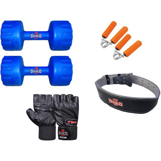 DIABLO Home Gym Combo Of 3 KG Pair Of Dumbbells With Leather Belt, Gloves  Gripper