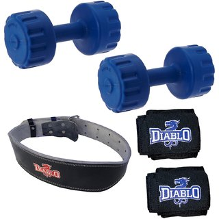DIABLO Home Gym Combo Of 4 KG Pair Of Dumbbells With Leather Belt  Hand Wraps