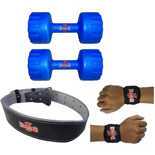 DIABLO Home Gym Combo Of 5 KG Pair Of Dumbbells With Leather Belt  Hand Wraps