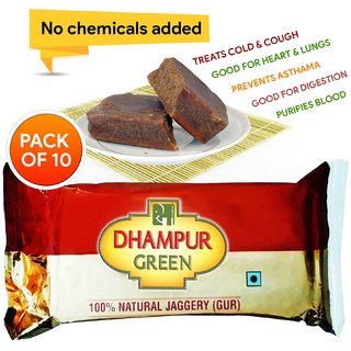 Dhampur Green Jaggery (Gur) 220 gm ( Pack of 10 )