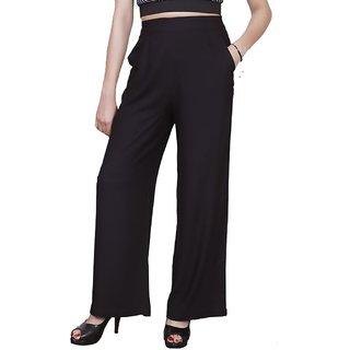 Omikka Plain Comfortable Stylish Casual Regular Fit Rayon Palazzo Pants