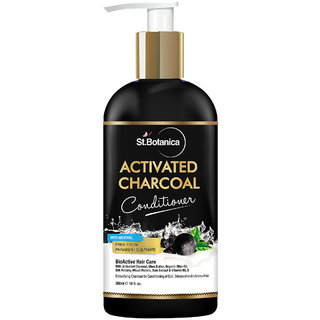 StBotanica Activated Charcoal Hair Conditioner 300ml - Deeply Purifies and Removes Impurities Refreshing Menthol with Organic Olive Oil Shea Butter Oats Wheat Protein.