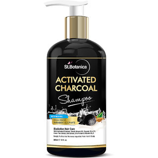 StBotanica Activated Charcoal Hair Shampoo, 300ml - No SLS/Sulphate, Paraben or Silicon - Refreshing Menthol, Organic Olive  Almond Oil, Vitamin B5, E, Oats  Silk Protein