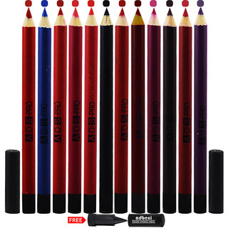 ADS Eye & Lip Liner Pencil Pack of 12 With Free Adbeni Kajal