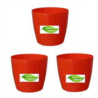 Flower Pot Virgin Plastic for Garden Decor/Indoor/Outdoor Decor Orange Color 19 cm - Pack of 3