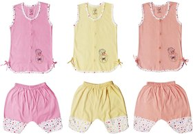 Jo kids wear Baby Girl Cotton Dress Set (A-line Top and 3/4th Pants), Multi Color,Set of 3