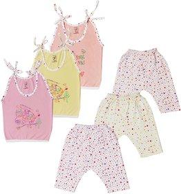 Jo kids wear Baby Girl Cotton Dress Set (Top and Leggings), Multi Color,Set of 3
