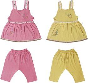 Jo kids wear Baby Girl Cotton Dress Set (Top and Pants), Multi Color,Set of 2